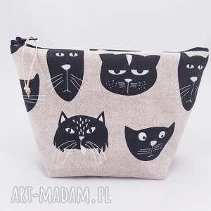 kosmetyczka w kotki, kosmetyczka, kot, len, lniana, cat