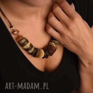 cynamonn: naszyjnik z bursztynem matowym natura, plastry bursztynu, na prezent, biżuteria