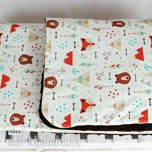 Kocyk Minky 100xx75 Lis Indianin, kocyk, kołderka, chłopiec, niemowlak, lis, dziecko