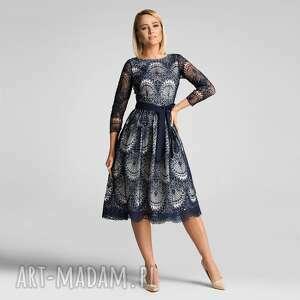 sukienki sukienka tina 3/4 midi josefina (podkład ecru)
