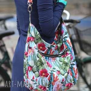 na ramię kolorowa torba kaktusy kwiaty kolorowe wzory, kaktusy, torebka