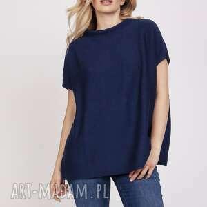 swetry dzianinowy t-shirt - swe224 granat mkm, dzianina, t shirt, narzutka