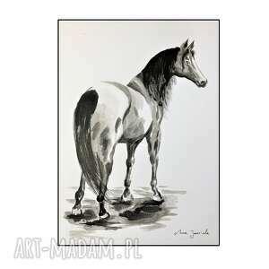 pod choinkę prezent, koń, koń, konik, grafika, rysunek, ręcznie