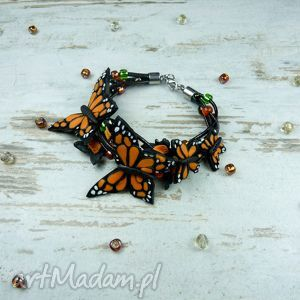 bransoletka z motylami, motyl, motyle, bransoletka, biżuteria, fimo