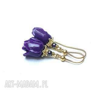róże /purple / - kolczyki, srebro pozłacane, koral, kwiaty, perły, swarovski