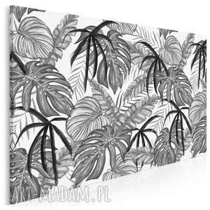 obraz na płótnie - liście czarno-biały dżungla 120x80 cm 92901