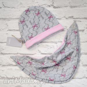 cienki komplet dla dziewczynki czapka i komin - bawełna, szalik, cienka