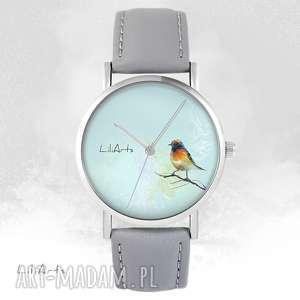 Zegarek - kolorowy ptaszek szary, skórzany zegarki liliarts