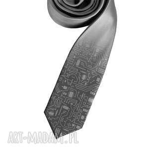 krawat z nadrukiem - układ scalony, krawat, nadruk, śledź, układ, szary