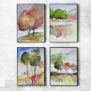 cztery pejzaże-akwarele formatu a5, akwarela, papier, pejzaż, drzewa