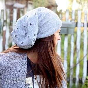 czapki szara wełniana czapka damska z dziurami, wełna, smerfetka, ciepła