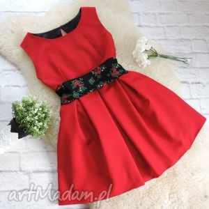 sukienki czerwona sukienka z szarfą folk góralska kwiaty , sukienka