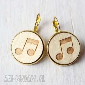drewniane kolczyki nuty, drewniane, kolczyki, ekologiczne, muzyka, muzyczne