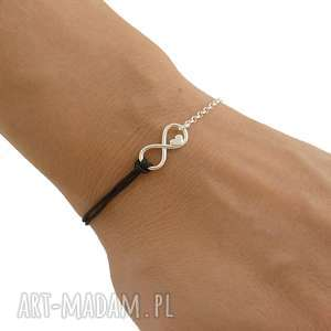 srebrna bransoletka nieskończoność z sercem, srbrna, bransoletka
