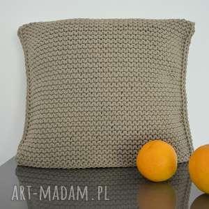 poduszka ze sznurka bawełnianego 50x50 cm - ciemny beż, poduszka, zesznurka
