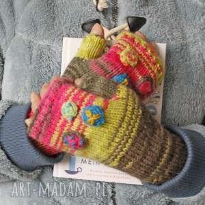 mitenki folk, kolorowe, haft, unikatowe, ciepłe, miękkie, świąteczny prezent