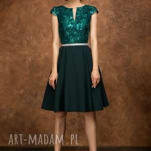 handmade sukienki sukienka bg-cek zieleń butelkowa