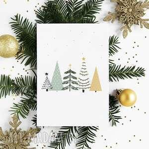 kartki kartka bożonarodzeniowa - choinki cardie, świąteczna