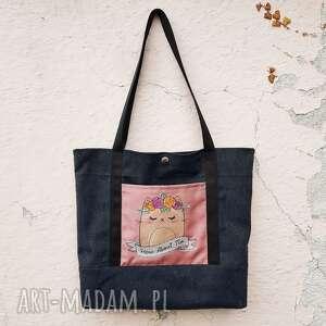 torebka na ramię z kotkiem, shopperka, torebka, haft, worek, kotek, kot torebki