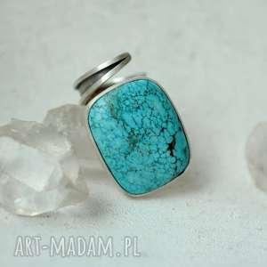 Pierścień z azurytem dziki krolik pierścień, srebro, azuryt