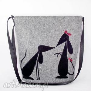 filcowa torba z jamniczkami, torba, torebka, filc, pies, jamnik