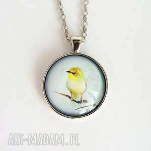 medalion - żółty ptaszek duży, naszyjnik, medalion, ptak, szklany, metalowy