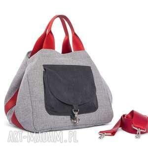 Torba BIG DUO XL - jasny popiel czerwień, wielofunkcyjna, stylowa, wygodna, kobieca