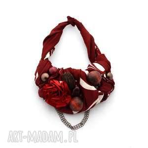 bordo naszyjnik handmade, naszyjnik, kolia, bordo, bordowy, czerwony, święta prezent