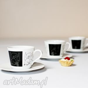 4 filiżanki ze spodkiem z aniołem paula klee, filiżanka, porcelana, serwis