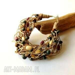bransoletka ze sznurka lnianego z drewnem, drewno, kulki drewna, sznurek lniany