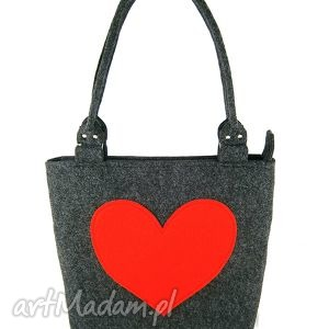 Anthracite and red heart - ,torebka,serce,