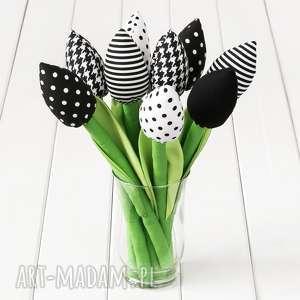 Prezent TULIPANY czarno-biały bawełniany bukiet, kwiaty, wystrój