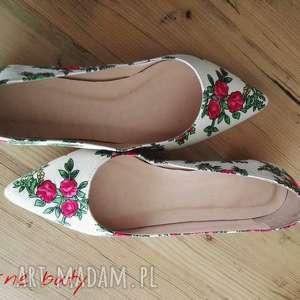 handmade buty baleriny z góralskim materiałem - do szpica, rozmiar 38,5