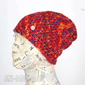 Czapka włóczka kolorowa ciepła 043 czapki godeco czapka, wełna