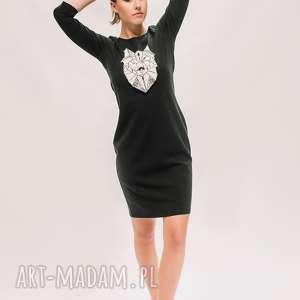 czarna z wilkiem, sukienka, malowana sukienka mini, oryginalna