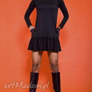handmade sukienki czarna sukienka z falbaną