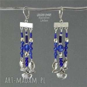 galeria limart kobaltowo 2 koczyki dla wielbicielki stylu boho z kobaltowych