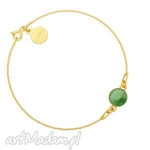 złota bransoletka z jasnozielonym kryształem swarovski®