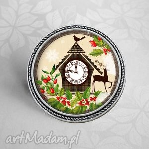 broszka ŚwiĄteczna - święta, reniferek, prezent, srebrne, srebrna, stylowy