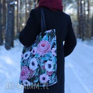 handmade na ramię szoperka z kieszeniami - kwiaty