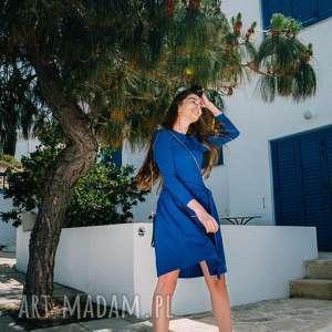 Bien Fashion Rozkloszowana niebieska sukienka z długim rękawem, midi, rozkloszowana