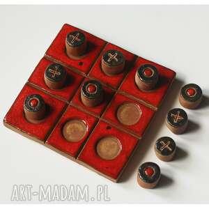 czerwona gra w kółko i krzyżyk, ceramika, gra, kółko