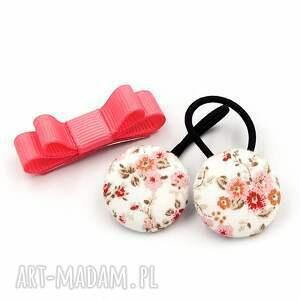 komplet gumeczki i spineczka florence pink, spineczka, ozdoby do włosów