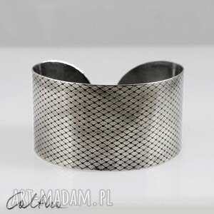 Rybia łuska - metalowa bransoletka, bransoleta, szeroka,