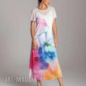 długa letnia sukienka trapezowa kolorowa z szyfonu krótkim rękawem - kolekcja