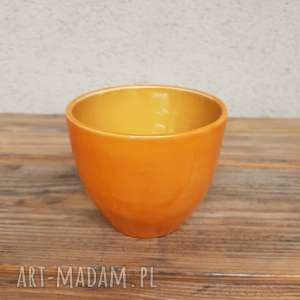 Czarka pomarańczowa 1, czarka, kubek, ceramika, glina, rękodzieło