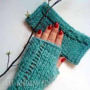 turkusowe mitenki, rękawiczki, na-drutach, kobiece, wygodne-mitenki,