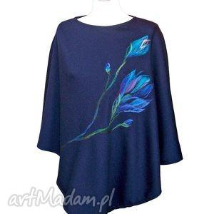 Poncho zdobione wełną - kwiaty blue, ponczo, poncho, kwiaty, filcowane, granat