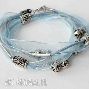 błękitna bransoletka, sznurek, tasiemka, metal, koraliki, kobiece