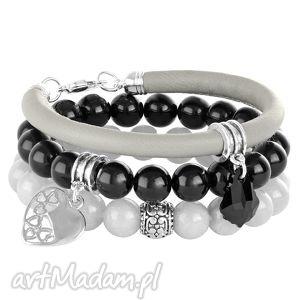 stone 2 - grey & black - czarne bransoletki, zawieszka swarovski, zestaw